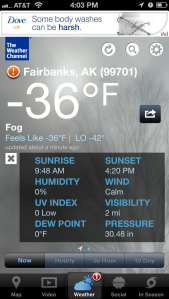 Temperature in Fairbanks, AK on January 27, 2013