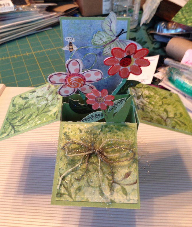 Box of flowers pop up box card by Donna J Capps