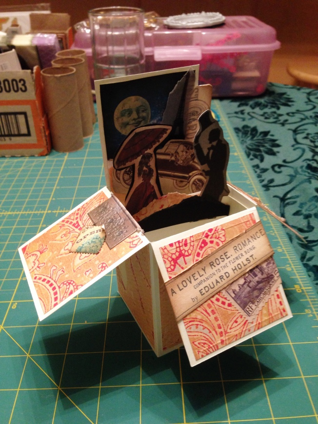 Vintage pop up box card open